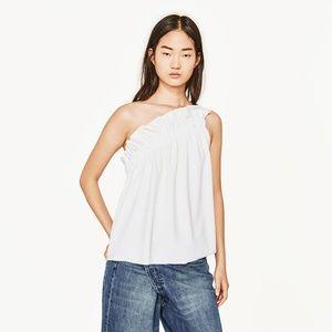 Zara Asymmetric One Shoulder Ruffle Top